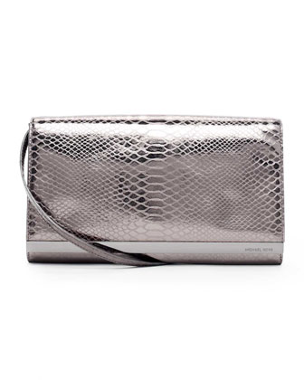 Tilda Extra Large Faux Python-Embossed Clutch Bag