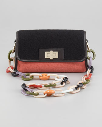 Colorblock Felt Shoulder Bag, Russet