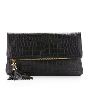 Large Tonne Crocodile Embossed Fold-Over Clutch Bag