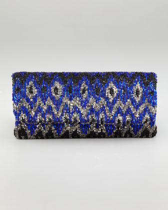 Ikat Beaded Fold-Over Clutch Bag