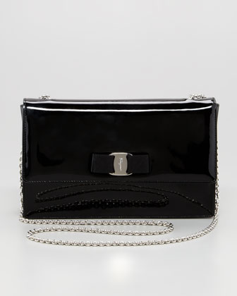 Vara Ginny Patent Flap Shoulder Bag, Black