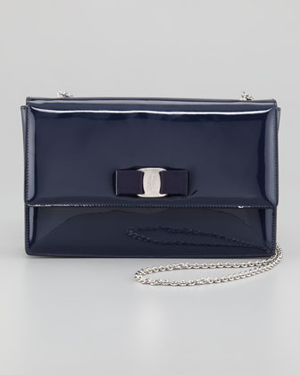 Vara Ginny Patent Flap Shoulder Bag, Oxford Blue