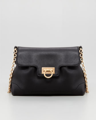 Amelie Soft Leather Shoulder Bag, Black