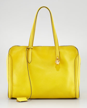 New Skull Padlock Zip-Around Tote Bag, Yellow