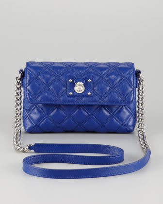 Single Quilted Large Crossbody Bag, Blue