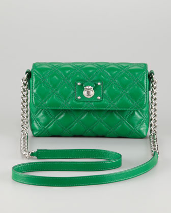 Single Quilted Large Crossbody Bag, Green