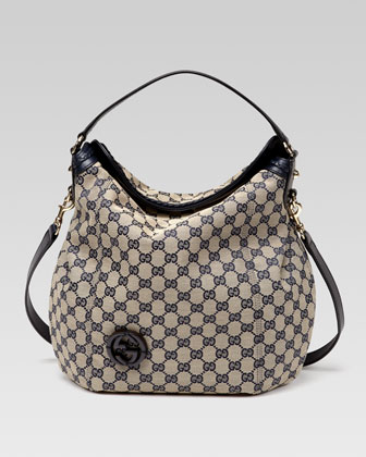 Brick Lane Original GG Canvas Hobo, Blue
