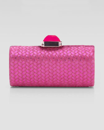 Megan Cylinder II Clutch Bag, Fuchsia