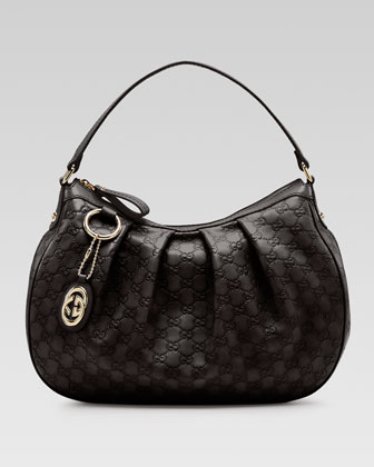 Sukey Guccissima Leather Medium Hobo Bag, Black