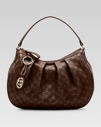 Sukey Guccissima Leather Medium Hobo Bag, Chocolate