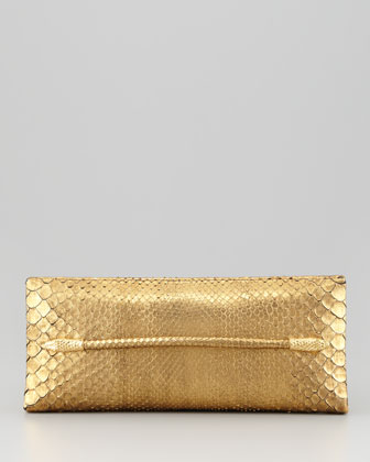 Metallic Python Serpent T-Bar Clutch