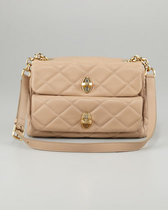 Miss Agnes Quilted Shoulder Bag, Beige