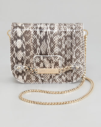 Shadow Snakeskin Crossbody Bag, Natural