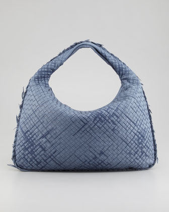Large Veneta Hobo Bag with Fringe, Blue