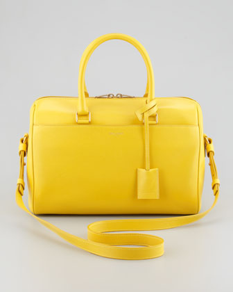 Small Rigid Crossbody Duffle Bag, Yellow