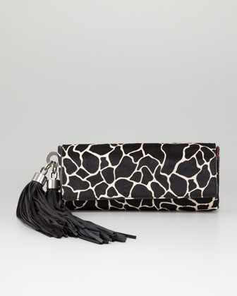 Claudette Calf Hair Tassel Clutch Bag