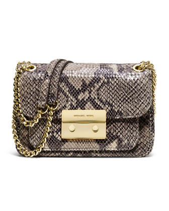 Small Sloan Snake-Embossed Shoulder Bag