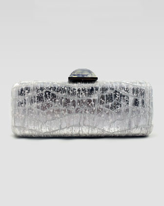 Jessica Crocodile-Embossed Metallic Clutch Bag