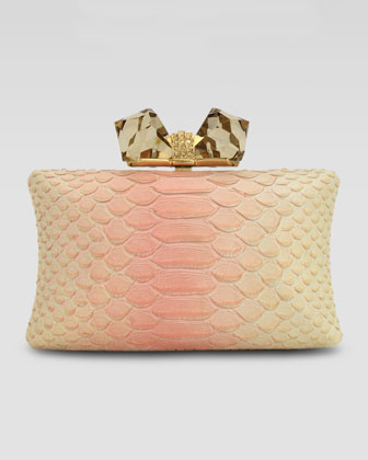 Vanessa Large Embossed Concave Clutch Bag, Pink