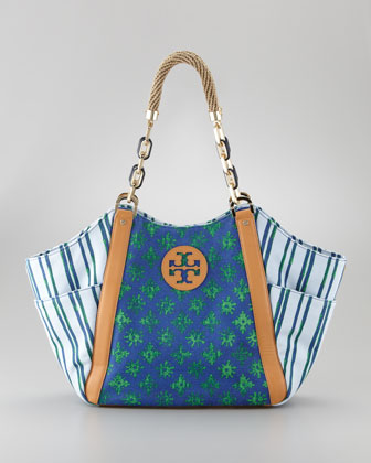 Karlya Mix-Print Tote Bag, Blue