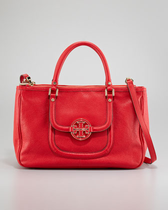 Amanda Double-Zip Tote Bag, Red