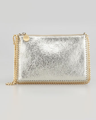 Metallic Mini Chain Shoulder Bag, Platinum