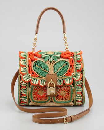 Miss Dolce Floral Raffia Satchel Bag, Red/Green
