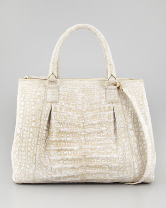 Executive Double-Zip Crocodile Tote Bag, White