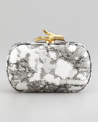 Lytton Sequined Floral-Print Clutch Bag, Gray