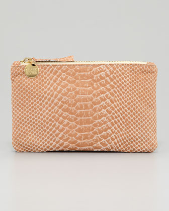 Snake-Embossed Leather Wallet Clutch