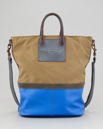 Colorway Nylon-Leather Tote Bag, Khaki Pattern
