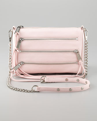 Zip-Front Leather Crossbody Bag, Petal Pink