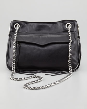 Leather Swing Bag, Black