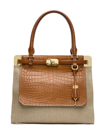 Blake Crocodile-Embossed Satchel