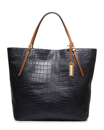 Large Gia Crocodile-Embossed Tote