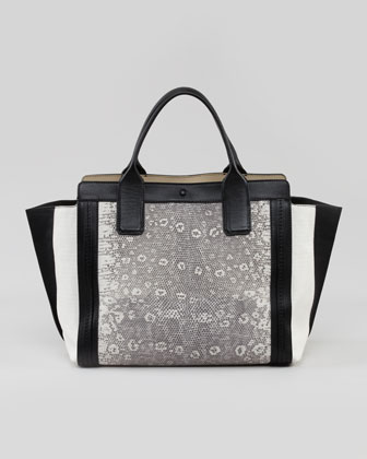 Alison Mini East-West Colorblock Tote Bag, White/Black