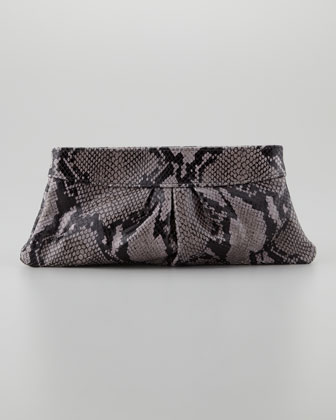 Eve Shiny Python Clutch Bag, Gray/Black