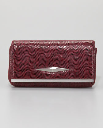 Essex Double Lizard-Print Clutch Bag, Burgundy