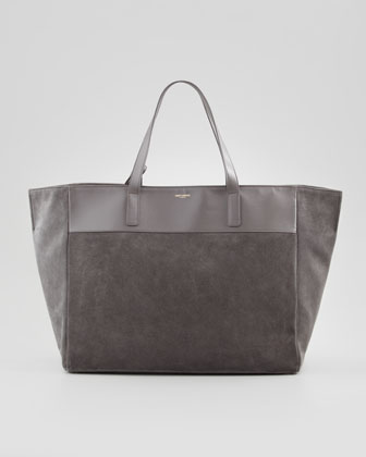 Reversible Leather/Suede East-West Tote Bag, Gray