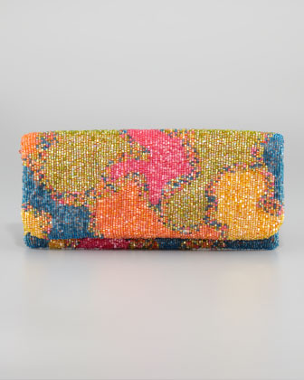Tie-Dye Beaded Fold-Over Clutch Bag