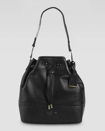 Linley Leather Drawstring Bag, Black