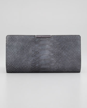 Reece Snake-Embossed Clutch Bag, Gray