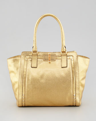 Emma Metallic Snake-Embossed Tote Bag, Gold
