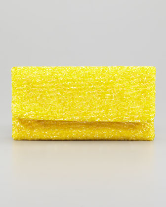 Beaded Flap-Top Clutch Bag, Yellow