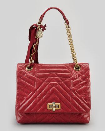 Happy Medium Quilted Leather Shoulder Bag, Red