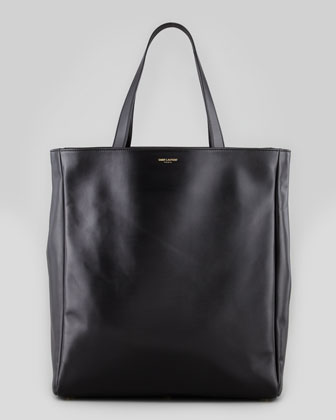 Reversible Leather/Suede North-South Tote Bag, All Black