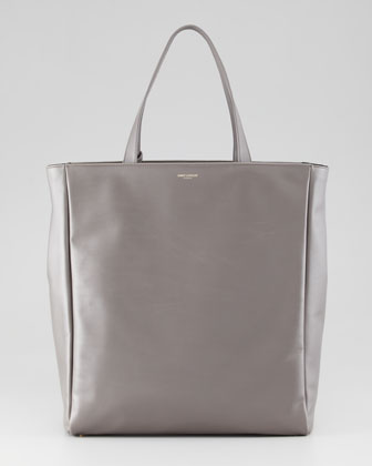 Reversible Leather/Suede North-South Tote Bag, Gray/Black