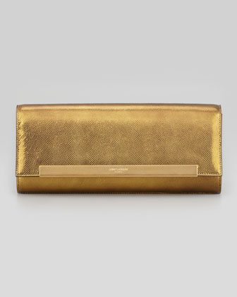 Lutetia Flap Clutch Bag, Gold