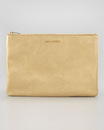 Letters Medium Metallic Zip Clutch Bag, Gold