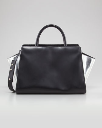Eartha East-West Leather Satchel Bag, Black/Silver